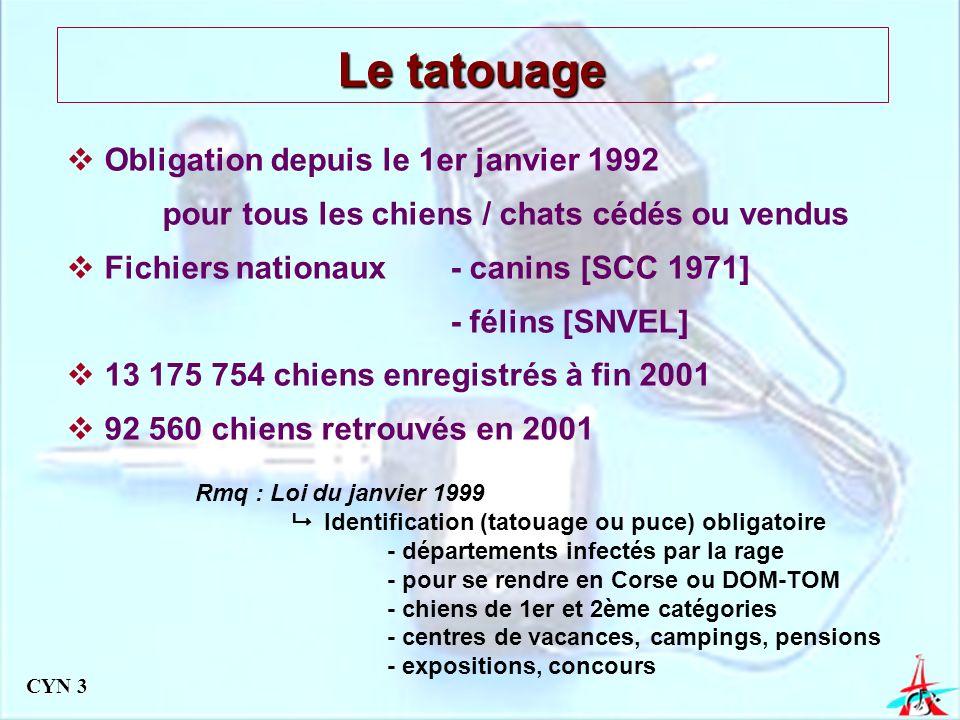 Le tatouage Obligation depuis le 1er janvier 1992 pour tous les chiens / chats cédés ou vendus. Fichiers nationaux - canins [SCC 1971]